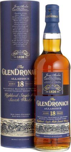 The GlenDronach 18 years old Highland Single Malt Scotch Whisky Cigars And Whiskey, Bourbon Whiskey, Whiskey Bottle, Fun Drinks, Alcoholic Drinks, Cocktails, Scotch Whisky, Rum, Sake Wine