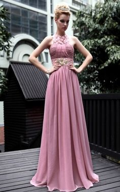 High neck Long Pink Prom Dresses | Fanny Crown