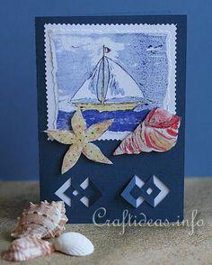 Birthday Card - Greeting Card - Maritime - Boat and Seashells Card