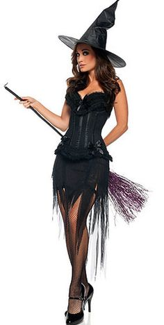 HALLOWEEN FANCY DRESS BURLESQUE WITCH COSTUME CORSET  SKIRT u0026 HAT 12 # women  sc 1 st  Pinterest & Halloween Witch Costume For Women Sexy Fashion Swallow Tail Braces ...