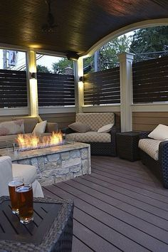 Modern Deck - Find more amazing designs on Zillow Digs! via chicago roof deck and garden Outside Patio, Outside Living, Outdoor Rooms, Outdoor Living, Outdoor Decor, Outdoor Projects, Outdoor Furniture, Deck Fire Pit, Fire Pits
