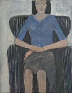 RICHARD DIEBENKORN Seated Woman in Striped Chair, 1965 Oil on canvas 39 1/2 × 30 1/2 in 100.3 × 77.5 cm