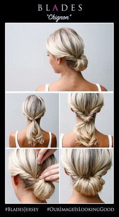 Blades Hairdressing Limited #Ladies #Hairstyles #How2Do an easy #Chignon #BladesJersey #OurImageIsLookingGood #OIILG #SuperSalon Tel: +44 (0)1534 735919 / 873400