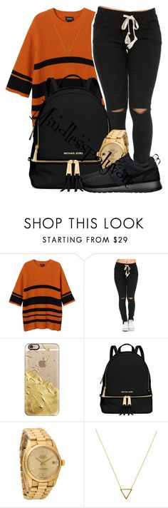 """Okay ladies now let's get in formation"" by mindlesspolyvore ❤ liked on Polyvore featuring Monki, Casetify, MICHAEL Michael Kors, Rolex, NIKE, Wanderlust + Co, women's clothing, women, female and woman"