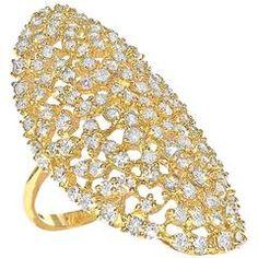 White Diamond Curved Sleeve Handmade Polished Gold Ring