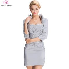 Grace Karin 2017 Silver Knee Length Mother of the Bride Dresses With Long Jacket For Wedding Sheath Strapless Party Dress