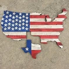 "USA w/ Texas on reclaimed pallet wood cutouts with rustic flag design. Hand painted and stained with a roughly smooth finish. Roughly 22""w x 14""h.  $75  By BFB Wood Design"