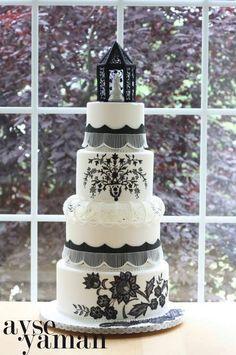 Black and white wedding cake