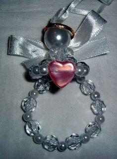 Angel Ornament pink heart beaded