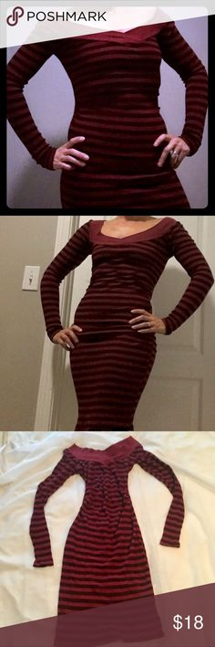 Tee Party Shirred Off-the-Shoulder Stretchy Dress This Tee Party striped dress is made from stretchy material (cotton/spandex blend). The stripes are red and dark maroon. This dress is a midi coming right below the knee. Tee Party Dresses Midi