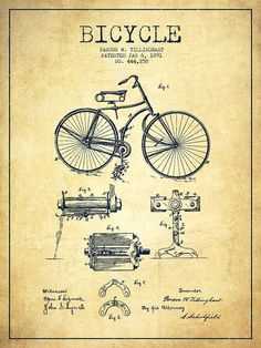 Bicycle Patent Drawing From 1891 - Vintage Drawing by Aged Pixel: