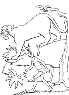 Jungle Book Mowgli With Bagheera Coloring Pages