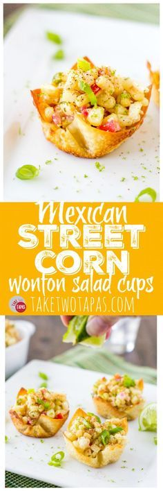 These Mexican Street Corn Salad Wonton Cups are the bomb Roasted corn combined with jalapeno red onions sour cream Cojita cheese and some chili powder for spice makes a g. Mexican Appetizers, Finger Food Appetizers, Appetizers For Party, Mexican Food Recipes, Appetizer Recipes, Mexican Finger Foods, Wonton Recipes, Corn Recipes, Recipes Dinner