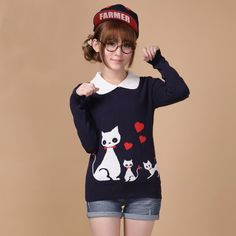 Mori Girl Clothing Pullover on Mori Girl の森ガール.Mori Preppy Kitty Doll Collar Pullover Cute Woolen Sweater catches up with the Mori Girl style.Get yourself ready to look fashion and keep out the cold on wearing it in the autumn or winter.Don't miss it.