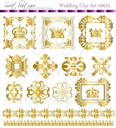 Digital Borders Frames Crowns cliparts Vintage Wedding Text Dividers Decorations Supplies Clip Art Clipart Scrapbooking Craft GOLD 0621