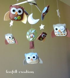 Baby Crib Mobile  Custom Baby Mobile  Owl Baby by LoveFeltXoXo, $115.00
