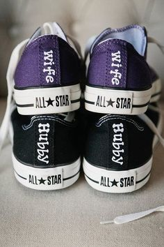 Matching Chucks for our wedding. Ribbon for my laces and little charms on the bottom of them