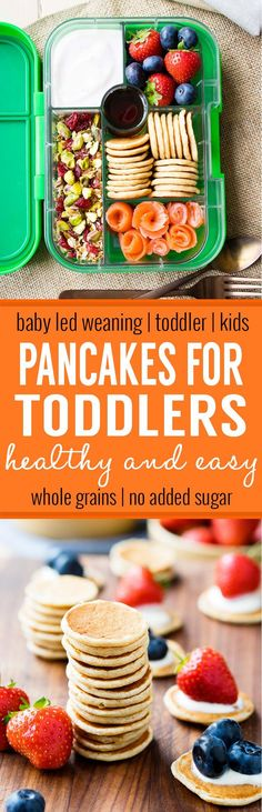 Pancakes for Toddlers - a healthy and easy to make breakfast that's sure to please any kid. Five ingredients only, made with whole grains and no added sugar. This pancake recipe is perfect for baby led weaning, baby's first pancakes, and fussy toddlers. It also packs well as a snack or lunch, and freezes well!