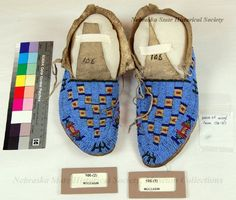 106-(1-2) - Moccasins; Leather; Beaded; Sioux, Checkerboards
