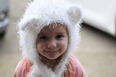 Crochet Teddy Bear Hat, Bonnet, Fuzzy crochet Bonnet , Little Girl Hood