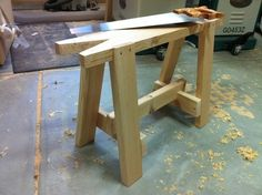 How to Build a Sawhorse - Bob Vila Woodworking Saws, Green Woodworking, Woodworking Supplies, Woodworking Workshop, Easy Woodworking Projects, Pallet Furniture, Painted Furniture, Sawhorse Plans, Bench Plans