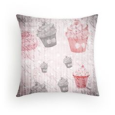 'Shabby chic Cupcake 1 Lover Throw pillow and Tote Bags ' Throw Pillow by outlawalien