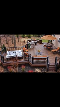 Love this deck, and having a hanging over it, but not over the hot tub because y. - Love this deck, and having a hanging over it, but not over the hot tub because you want to look at - Hot Tub Deck, Hot Tub Backyard, Hot Tub Garden, Backyard Patio, Piscina Spa, Whirlpool Deck, Decks And Porches, Building A Deck, Deck Design