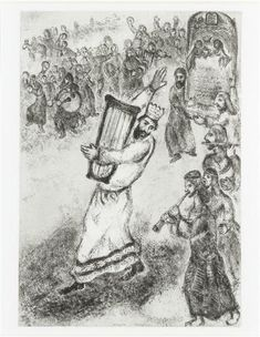 The Ark of the Covenant transported to Jerusalem, preceded by David dancing and playing the harp (II Samuel, VI, 1-5) by @artistchagall #naïveart