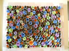 Recycled Paper Art by OpenHeartGallery on Etsy Paper Art Projects, Craft Projects, Paper Crafts, Craft Ideas, International Dot Day, Rolled Paper Art, Sewing Crafts, Diy Crafts, Paper Stand
