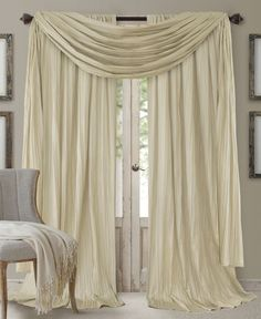 Elrene Athena Rod Pocket x Pair of Curtain Panels with Scarf Valance, Set of 3 - Window Treatments - For The Home - Macy's Faux Silk Curtains, Scarf Curtains, Ivory Curtains, No Sew Curtains, Rod Pocket Curtains, Panel Curtains, Curtain Panels, Curtain Hanging, Elegant Curtains