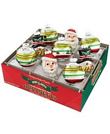 Christopher Radko Holiday Splendor Decorated Rounds and Figures, Santa and Snowman