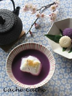 Japanese sweets / 紫芋と白あんの おしるこ & ひとくち和菓子 Sweet Bean Soup with Sweet Potatoes