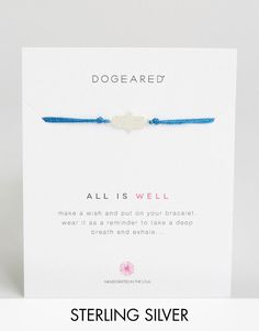 Dogeared | Dogeared Sterling Silver All is Well Royal Blue Silk Adjustable Wish Bracelet at ASOS