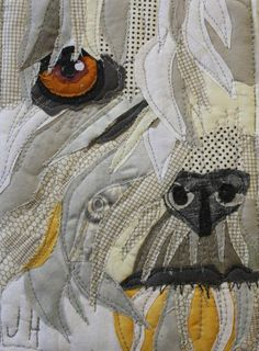 detail pet portrait quilt by Jane Haworth Create Collage, Collage Art, Collage Ideas, Necktie Quilt, Shirt Quilts, Fox Quilt, Yellow Lab Puppies, Modern Quilting Designs, Photo Quilts