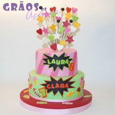 Candy | Esculpido | bolo 2 irmãos | Grãos de Açúcar - Bolos decorados - Cake Design
