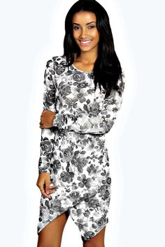 Wilma Floral Printed Asymetric Bodycon Dress alternative image