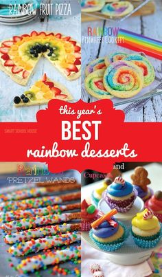 This Year's BEST Rainbow Desserts. Would be great to make for a Sid the Science Kid What is a Rainbow party. Rainbow Desserts, Rainbow Fruit, Rainbow Parties, Rainbow Birthday Party, Kid Parties, Profiteroles, Delicious Desserts, Dessert Recipes, Yummy Food