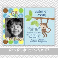 Monkey 2 Personalized Party Invitation-personalized invitation, photo card, photo invitation, digital, party invitation, birthday, shower, announcement, printable, print, diy,1950s, diner