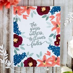 The Grass Withers Card by Betsy Veldman for Papertrey Ink (February Bullet Art, Celebration Day, Flower Stamp, Scrapbook Cards, Grass, Card Making, Paper Crafts, Ink, Card Designs