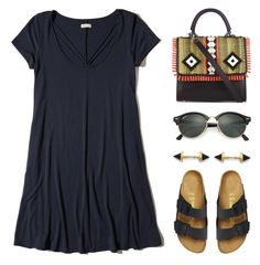 """The secret of style is to feel good in what you wear."" by lgb321 ❤ liked on Polyvore featuring Hollister Co., Les Petits Joueurs, Birkenstock, Ray-Ban and Katie Diamond"