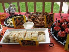 District 11 bread (pepperoni rolls), groosling wings and tracker jacker cookies