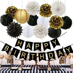 Birthday Party Decorations Black Happy Birthday Banner Paper Flowers Tissue Paper Pom Poms Paper Lanterns Paper Fans for Birthday Party birthday party decorations for women turning Great for a 50 fabulous birthday Birthday Party Celebratio 50 Fabulous Birthday, 50th Birthday Party Ideas For Men, Birthday Party Decorations For Adults, Moms 50th Birthday, Birthday Party Celebration, Happy Birthday Parties, 40th Birthday Parties, 50 Party, Birthday Woman