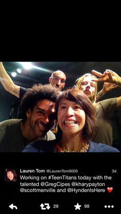 Lauren Tom, Scott Menville, Khary Payton, and Gregory Michael Cipes recording TTG!