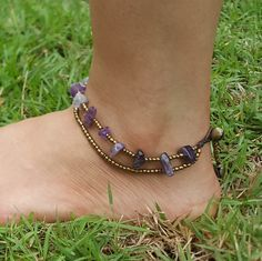 Hand Made Fair Trade Anklet Double Strand Brass Beads Amethyst Adjustable 2 sizes Hand Made Anklets From Thailand Beaded Anklets, Beaded Jewelry, Brass Color, Bead Art, Fair Trade, Amethyst, Wax, Beads, Purple