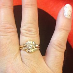Diamond Engage & Wedding Set, 14 kt New Diamond (.65 tcw) and 14 kt gold engagement ring, band set, NEW.  Retail value $3795. The engagement ring and wedding band hook together. The center diamond is .4 tcw, color is H which is extra fine quality, clarity is VS1 to VS2.  Center stone is round brilliant, rings size 6. Can adjust up or down two sizes.  Purchased from jeweler's private stock.  Free piece of sterling silver jewelry with your purchase. jeweler's private stock Jewelry
