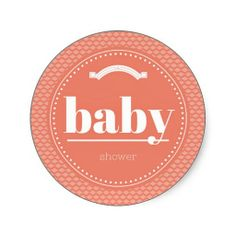 Peach & White Sweet Baby Shower Stickers