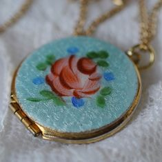 This beautiful vintage locket is hand painted. To make it even better, I will fill it with your choice of my beeswax botanical perfume. Makes it so easy to take your favorite scent with you wherever you go.