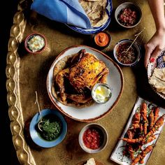 Turmeric and Coriander Roast Chicken, serve with Ezme, Toum, and Zhoug as condiments