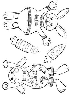Garland with Easter bunnies for colouring and cutting out as PDF: a kit for children - Basteln Cat Coloring Page, Coloring Pages, Colouring, Bunny Crafts, Easter Crafts, Easter Art, Easter Bunny, Cardboard Crafts, Fabric Crafts
