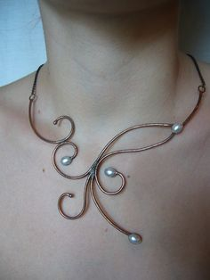 Arabesques and pearls necklace by Laurence Magault